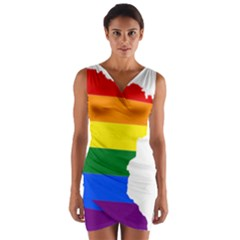 Lgbt Flag Map Of Minnesota  Wrap Front Bodycon Dress