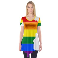 Lgbt Flag Map Of Minnesota  Short Sleeve Tunic