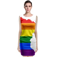 Lgbt Flag Map Of Minnesota  Classic Sleeveless Midi Dress