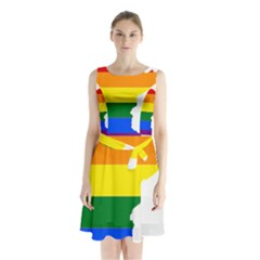 Lgbt Flag Map Of Minnesota  Sleeveless Waist Tie Dress