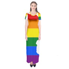 Lgbt Flag Map Of Minnesota  Short Sleeve Maxi Dress