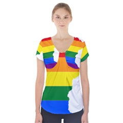 Lgbt Flag Map Of Minnesota  Short Sleeve Front Detail Top