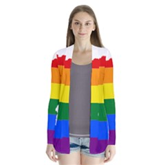 Lgbt Flag Map Of Minnesota  Drape Collar Cardigan
