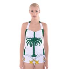 Emblem Of Saudi Arabia  Boyleg Halter Swimsuit