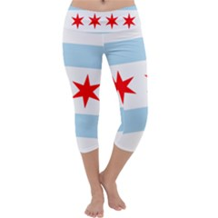 Flag Of Chicago Capri Yoga Leggings