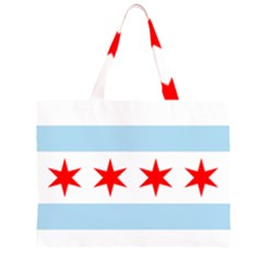 Flag Of Chicago Zipper Large Tote Bag