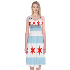 Flag Of Chicago Midi Sleeveless Dress