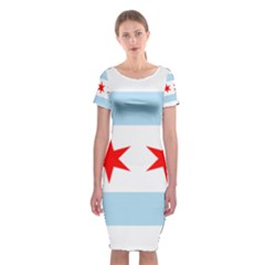 Flag Of Chicago Classic Short Sleeve Midi Dress