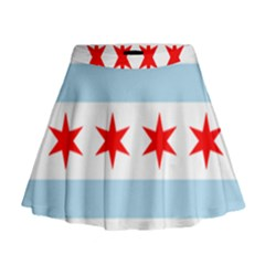 Flag Of Chicago Mini Flare Skirt