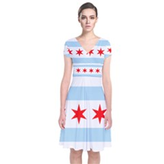 Flag Of Chicago Short Sleeve Front Wrap Dress