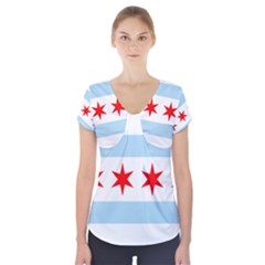 Flag Of Chicago Short Sleeve Front Detail Top