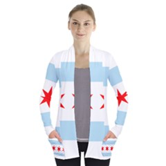 Flag Of Chicago Women s Open Front Pockets Cardigan(P194)