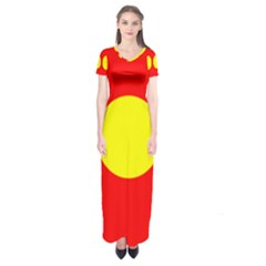 Flag Of Freetown Christiania Short Sleeve Maxi Dress