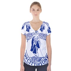 Seal Of Yonkers, New York  Short Sleeve Front Detail Top