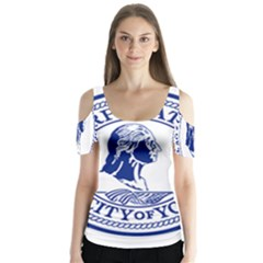 Seal Of Yonkers, New York  Butterfly Sleeve Cutout Tee
