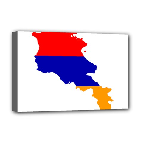 Flag Map Of Armenia  Deluxe Canvas 18  x 12