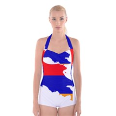 Flag Map Of Armenia  Boyleg Halter Swimsuit