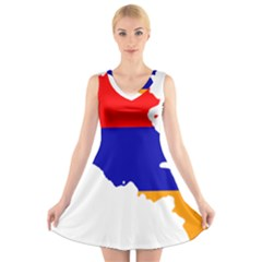 Flag Map Of Armenia  V Neck Sleeveless Skater Dress