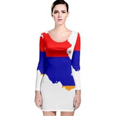 Flag Map Of Armenia  Long Sleeve Velvet Bodycon Dress
