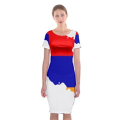Flag Map Of Armenia  Classic Short Sleeve Midi Dress