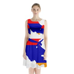 Flag Map Of Armenia  Sleeveless Waist Tie Dress