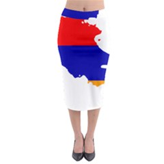 Flag Map Of Armenia  Midi Pencil Skirt
