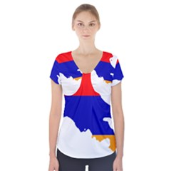 Flag Map Of Armenia  Short Sleeve Front Detail Top