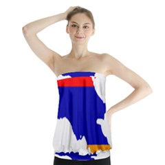 Flag Map Of Armenia  Strapless Top