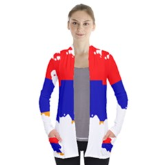 Flag Map Of Armenia  Women s Open Front Pockets Cardigan(P194)