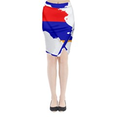 Flag Map Of Armenia  Midi Wrap Pencil Skirt
