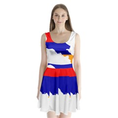 Flag Map Of Armenia  Split Back Mini Dress