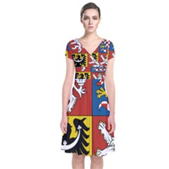 Coat Of Arms Of The Czech Republic Short Sleeve Front Wrap Dress