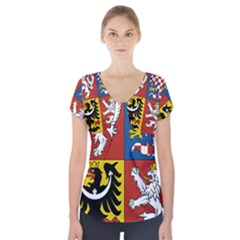 Coat Of Arms Of The Czech Republic Short Sleeve Front Detail Top