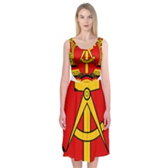 National Emblem Of East Germany  Midi Sleeveless Dress