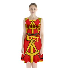 National Emblem Of East Germany  Sleeveless Waist Tie Dress