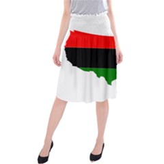 Pan Afrcian Flag Map Of Usa Midi Beach Skirt