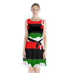 Pan Afrcian Flag Map Of Usa Sleeveless Waist Tie Dress