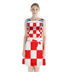 Coat Of Arms Of Croatia Sleeveless Waist Tie Dress