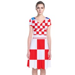 Coat Of Arms Of Croatia Short Sleeve Front Wrap Dress