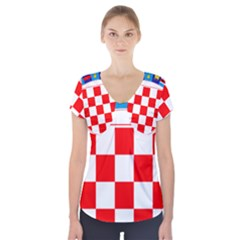 Coat Of Arms Of Croatia Short Sleeve Front Detail Top