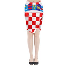 Coat Of Arms Of Croatia Midi Wrap Pencil Skirt