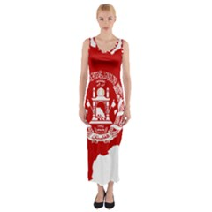 Flag Map Of Afghanistan Fitted Maxi Dress