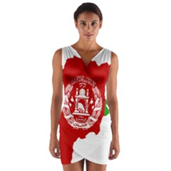 Flag Map Of Afghanistan Wrap Front Bodycon Dress