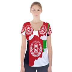 Flag Map Of Afghanistan Short Sleeve Front Detail Top