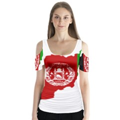 Flag Map Of Afghanistan Butterfly Sleeve Cutout Tee