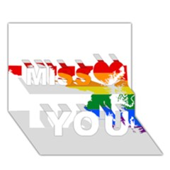 Lgbt Flag Map Of Maryland  Miss You 3D Greeting Card (7x5)
