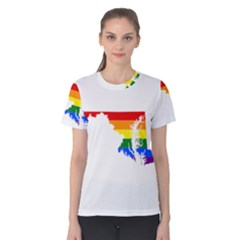Lgbt Flag Map Of Maryland  Women s Cotton Tee