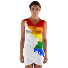 Lgbt Flag Map Of Maryland  Wrap Front Bodycon Dress