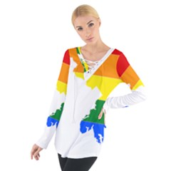 Lgbt Flag Map Of Maryland  Women s Tie Up Tee