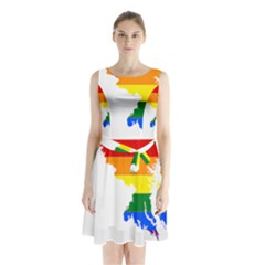 Lgbt Flag Map Of Maryland  Sleeveless Waist Tie Dress